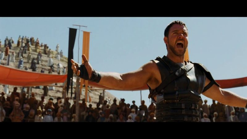 Gladiator screams in action movie
