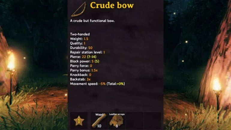 best valheim weapons crude bow